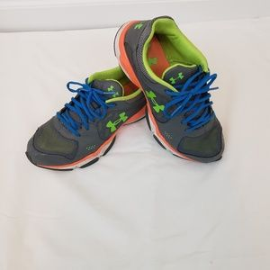 Under Armour Gray Neon Green Blue Boy's Sneakers